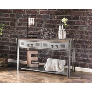 Furniture of America Starke Industrial Style Grey Silver Metal 2-drawer Sofa Table