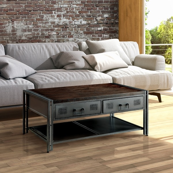Furniture Of America Starke Industrial Style Grey Silver Metal 2 Drawer Coffee Table