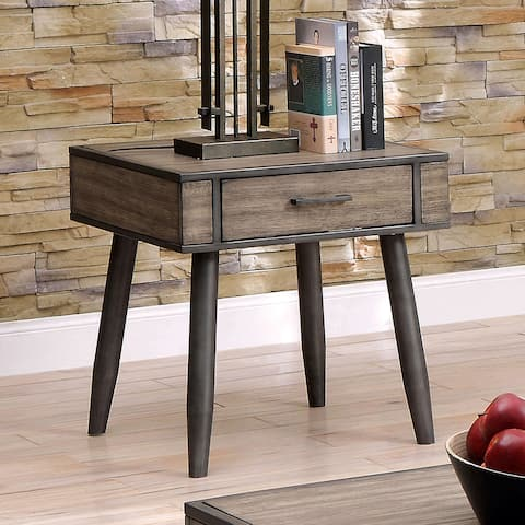 Furniture of America Looc Mid-Century Modern Grey Solid Wood End Table