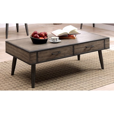 Furniture of America Looc Mid-Century Grey Solid Wood Coffee Table