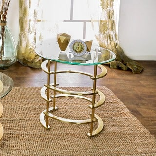Furniture of America Odella Contemporary Glam Glass Top End Table