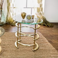 Silver Orchid Marcello Contemporary Glass Top End Table