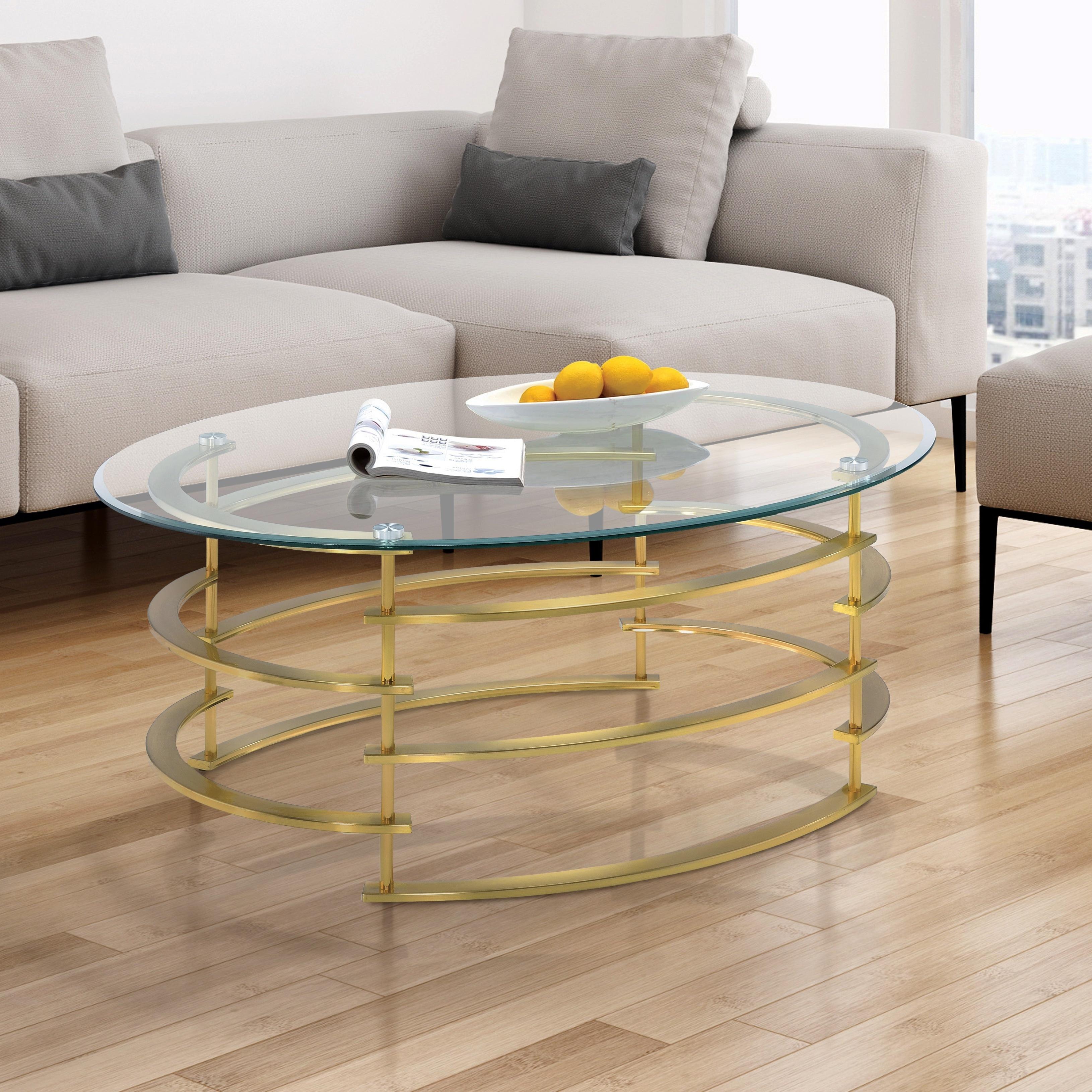 Furniture of America Odella Contemporary Glam Glass Top C...