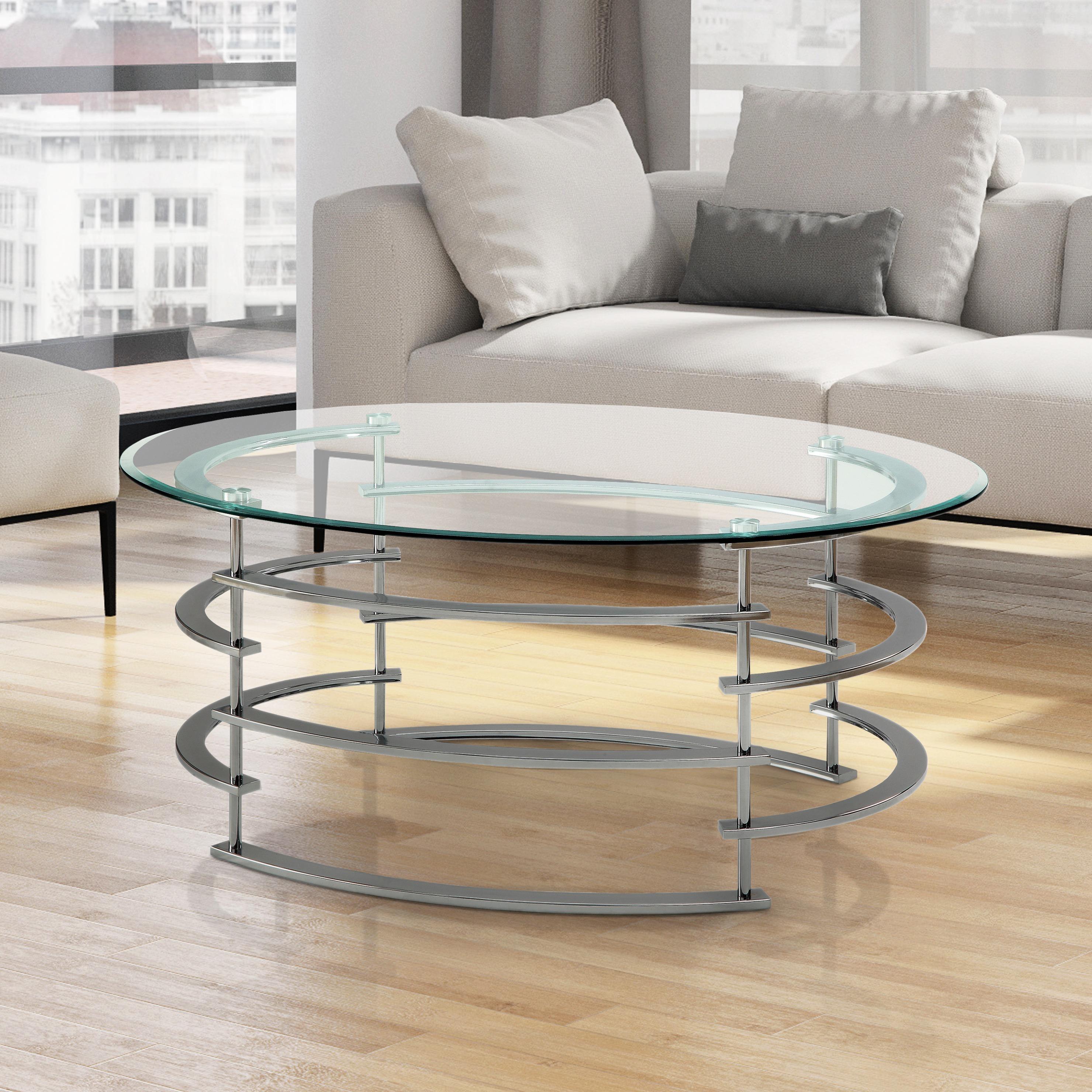 Furniture of America Odella Contemporary Glam Glass Top Coffee