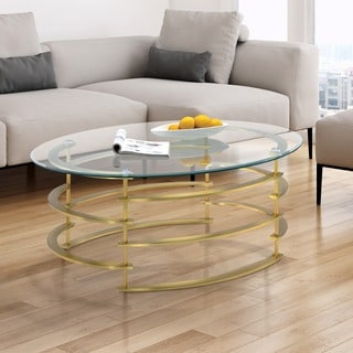 Furniture of America Odella Contemporary Glam Glass Top Coffee Table