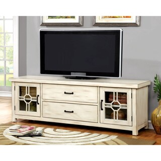 Furniture of America Bardelle Transitional Antique White Storage TV Stand