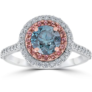 14k White & Rose Gold 1 5/8 ct TDW Blue & White Diamond Pink Topaz Double Halo Engagement Ring (G-H,SI1-SI2)