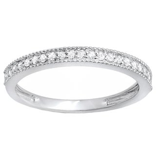 10k Gold 1/4ct TDW Round White Diamond Milgrain Anniversary Wedding Stackable Band (I-J, I2-I3)