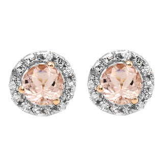 14k Rose Gold 5/8ct TW Round Morganite and White Diamond Halo Style Stud Earrings (I-J, I2-I3 )