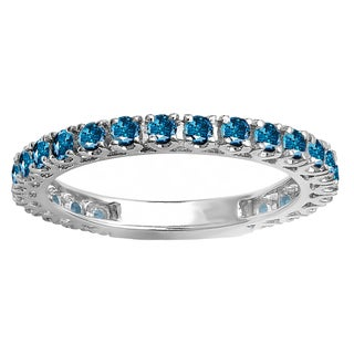 10k White Gold 1ct TDW Round Blue Diamond Eternity Sizeable Stackable Ring Anniversary Wedding Band (I1-I2)