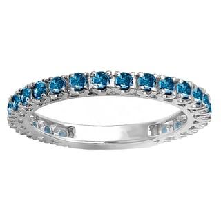 10k White Gold 1ct TDW Round Blue Diamond Eternity Sizeable Stackable Ring Anniversary Wedding Band (I1-I2)