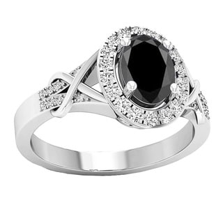 10k Gold 1 1/4ct Oval Cut Black Sapphire & Round White Diamond Bridal Engagement Ring (I-J & Black, I1-I2 & Highly Included)