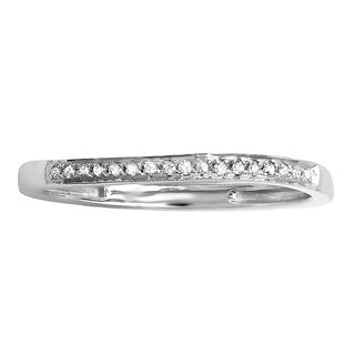 sterling silver 110ct tdw diamond anniversary wedding band stackable ring - Stacked Wedding Rings