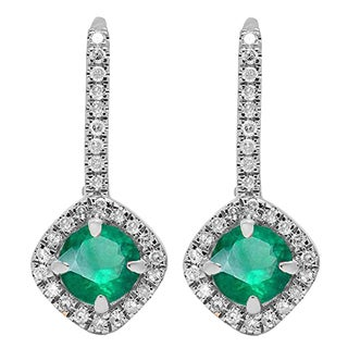 14k White Gold 2 1/5ct Round Cut Emerald & White Diamond Halo Style Hoop Earrings (I-J & Green, I1-I2 & Highly Included)
