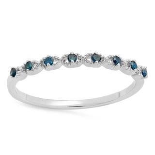 Sterling Silver 1/10ct TDW Round-cut Blue Diamond Anniversary Wedding Band Ring (I2-I3)