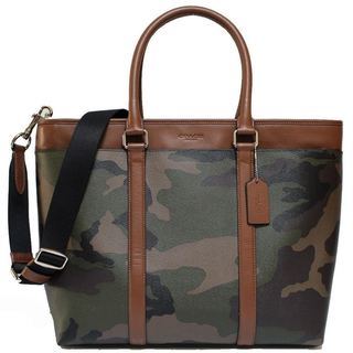 Coach Men's Perry Canvas Leather Green Camouflage Business Tote