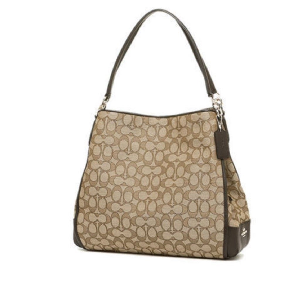 Coach Phoebe Outline Signature Khaki Brown Shoulder Bag