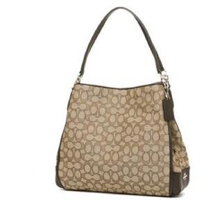 Coach Phoebe Outline Signature Khaki Brown Shoulder Bag