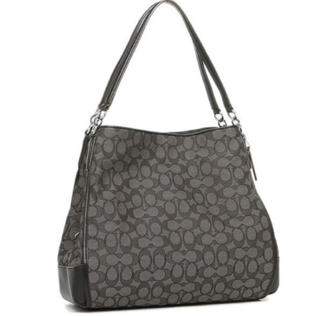Coach Women S 36424 Phoebe Outline Signature Smoke Black Canvas And Leather Shoulder Bag
