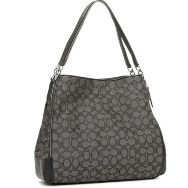 d2179d01092d Coach Women  x27 s 36424 Phoebe Outline Signature Smoke Black Canvas and  Leather Shoulder
