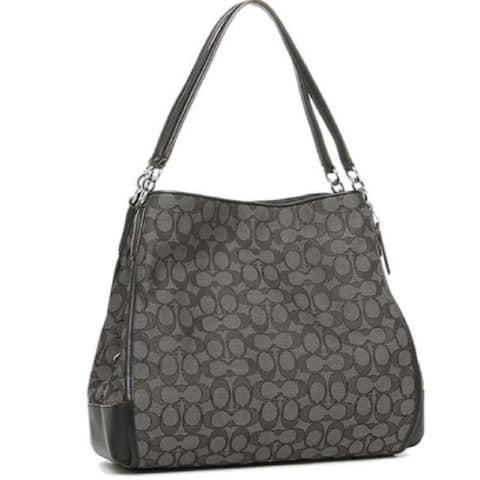Coach Women's 36424 Phoebe Outline Signature Smoke Black Canvas and Leather Shoulder Bag
