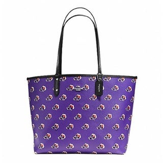 Coach Signature Purple Canvas Reversible City Tote with Pouch Handbag