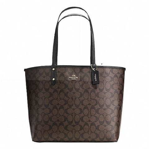 f0cce34f6bc Coach Signature City Tote Coated Canvas Reversible Handbag and Pouch Set