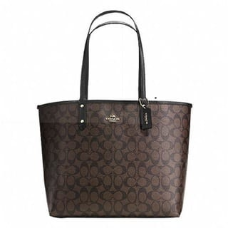 Coach Signature City Tote Coated Canvas Reversible Handbag and Pouch Set