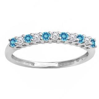 10k Gold 1/3ct TW Round Blue Topaz and White Diamond Anniversary Stackable Wedding Band (I-J, I2-I3 )