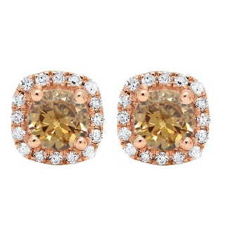 10k Rose Gold 3/8ct TDW Round-cut Champagne and White Diamond Halo Style Stud Earrings