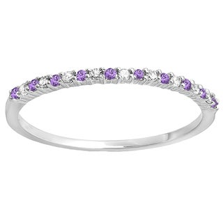 14k Gold 1/10ct TW Round Amethyst and Diamond Wedding Ring (I-J, I2-I3 )
