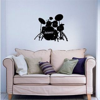 Custom Personalized Baby Name Music Drums Wall Sticker Boy Girl Room Sticker Decal size 48x48 Color Black