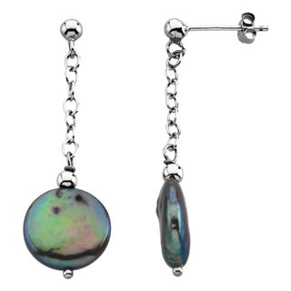 Sterling Silver Freshwater Cultured Black Coin Pearl Drop Earrings (12-13mm)