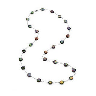 Sterling Silver Freshwater Cultured Black Coin Pearl Necklace (12-13 mm)