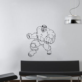 Wall Mural Vinyl Sticker Decal man mighty muscles Sticker Decal size 33x45 Color Black