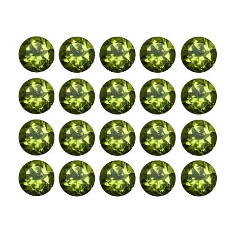 Natural 4mm Round-cut 6ctw Peridot Gemstone (Set of 20)