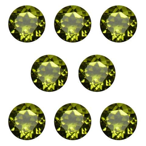 Natural 6mm Round-cut 7ctw Peridot Gemstone (Set of 8)