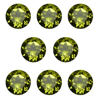 Natural 6mm Round-cut 7ctw Peridot Gemstone (Set of 8)