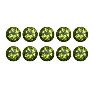 Natural 5mm Round-cut 4.87ctw Peridot Gemstone (Set of 10)