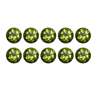 Natural 5mm Round-cut 4.87ctw Peridot Gemstone (Set of 10)