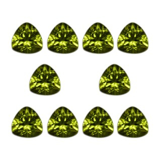 Natural 6mm Trillion-cut 8.34ct Peridot Gemstone (Set of 10)
