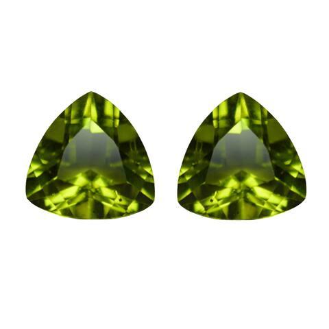 Natural 9mm Trillion-cut 4.5ctw Peridot Gemstone (Set of 2)