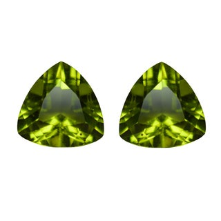 Natural 9mm Trillion-cut 4.5ctw Peridot Gemstone (Set of 2)