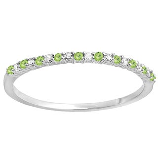 14k Gold 1/6ct TW Round Peridot and White Diamond Anniversary Band Stackable Ring (I-J, I2-I3 )