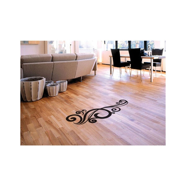Swirls Floor Sticker Kitchen Living Room Restaurant Decor Decal Vinyl Size 44x70 Color Black