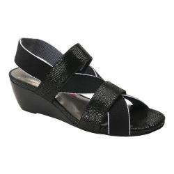 Women's Ros Hommerson Wynona Strappy Wedge Sandal Black Leather