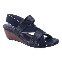 Women's Ros Hommerson Wynona Strappy Wedge Sandal Navy Leather