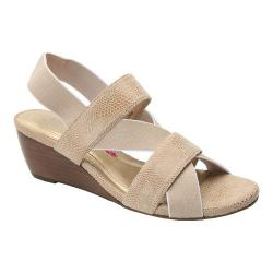 Women's Ros Hommerson Wynona Strappy Wedge Sandal Nude Leather