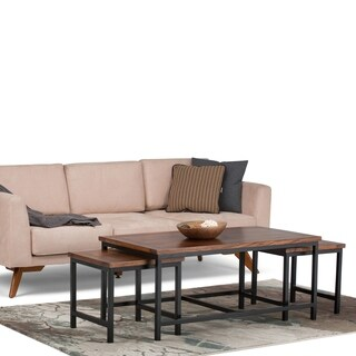 WYNDENHALL Rhonda 3-piece Nesting Coffee Table in Dark Cognac Brown