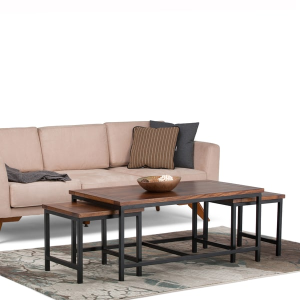 Wyndenhall Rhonda 3 Piece Nesting Coffee Table In Dark Cognac Brown